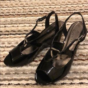 Black Patent Wedge Sandals